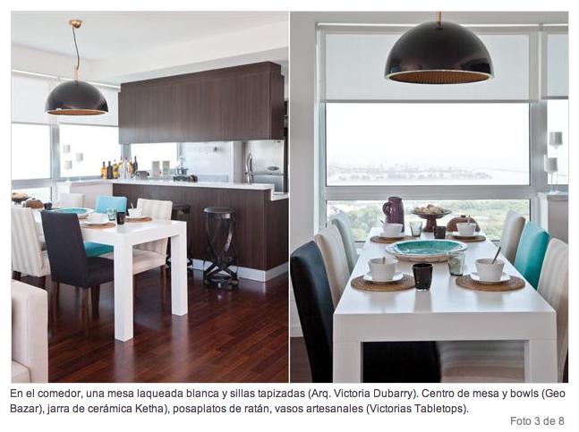 Mesa blanca y sillas de colores revista living for Sillas de cocina blancas