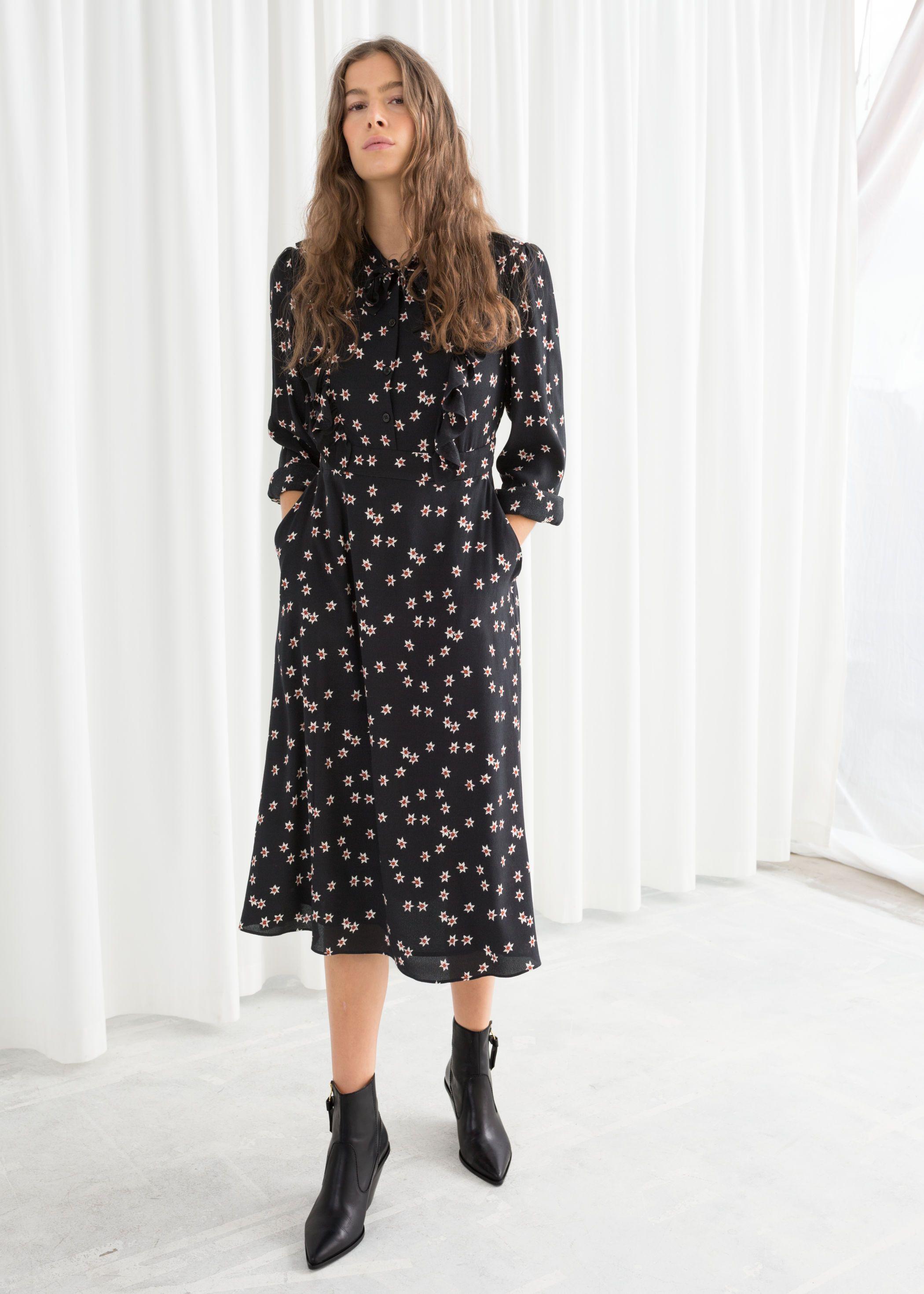 12a9303ebe8e Floral Printed Ruffle Bib Midi Dress in 2019 | Wear Am I? | Dresses ...