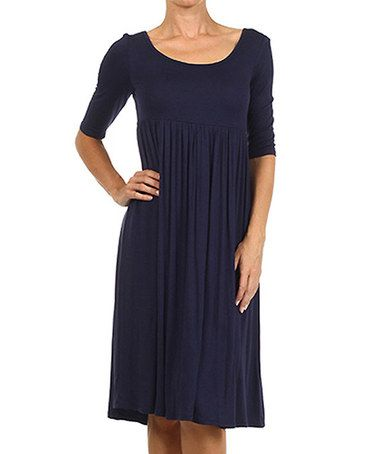 Look what I found on #zulily! Navy Long Empire-Waist Dress #zulilyfinds