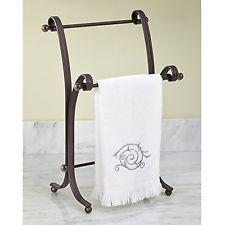 Hand Towel Holder Stand Towels Rack Metal Bathroom Free Standing Countertop Bath
