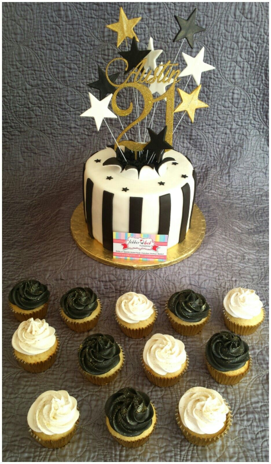 31st Birthday Cake With Black And White Cupcakes
