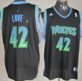 brand new 272bc 17d73 Minnesota Timberwolves #42 Kevin Love Vibe Black Fashion ...