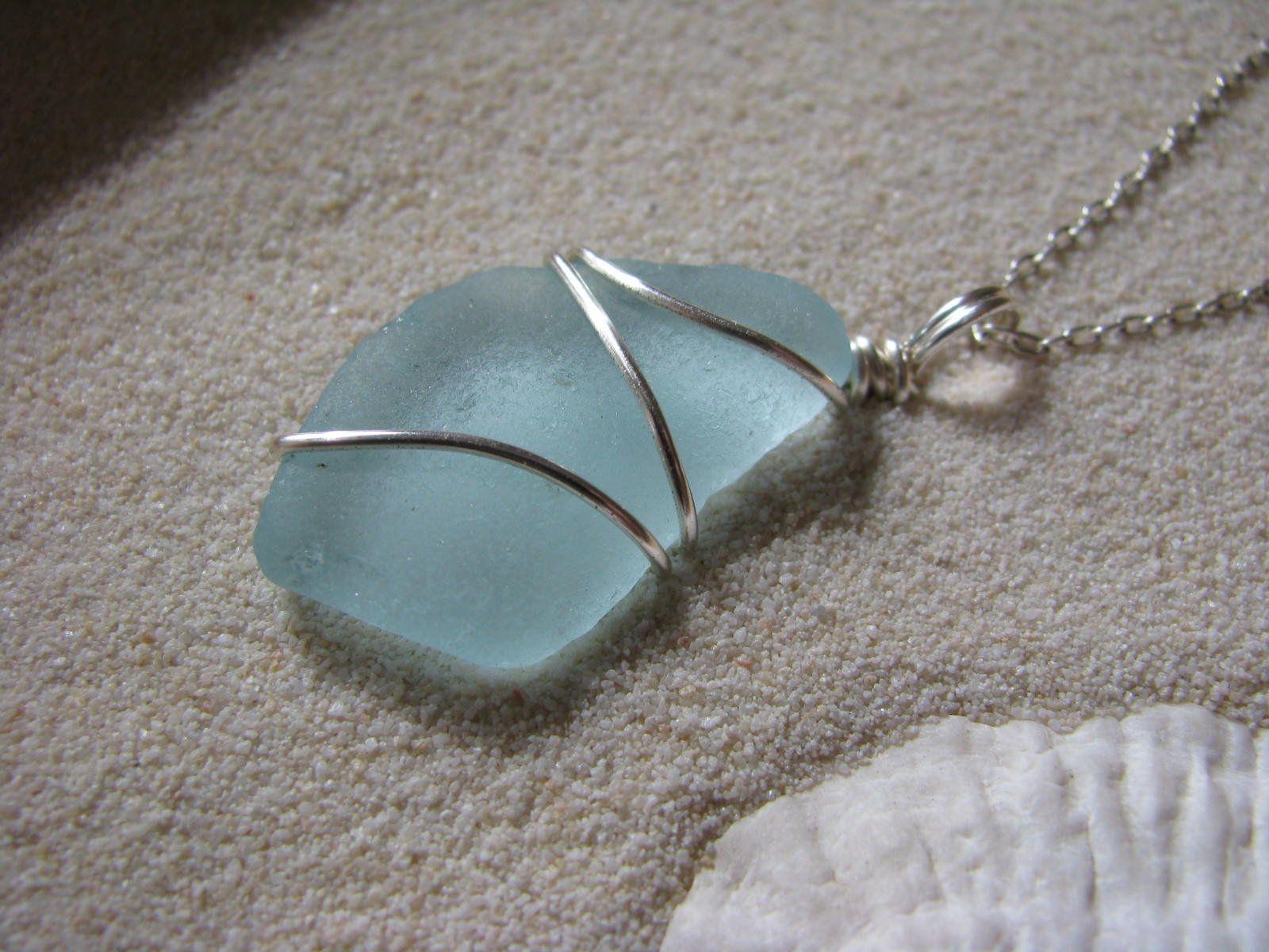 Beach Glass Necklace Beach Glass Jewelry bridesmaid necklace Sea Glass Jewelry beach wedding. Teal Sea Glass Necklace Whale/'s Tail