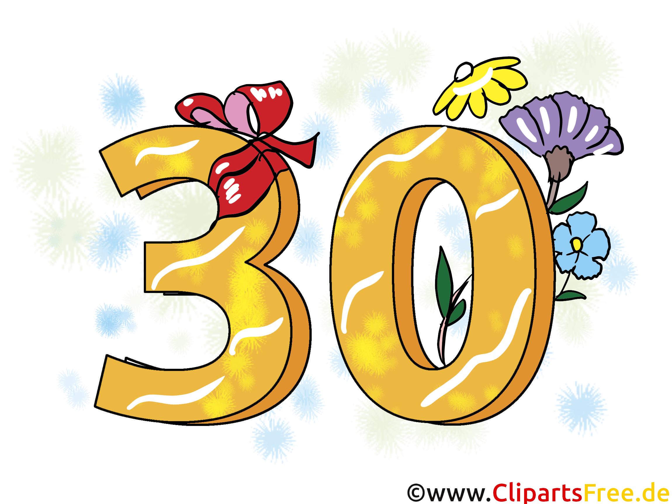 Geburtstagssprüche 30 Jahre   Clipart, Grusskarte, Glückwunschkarte, ECard,  Vorlage Einladung