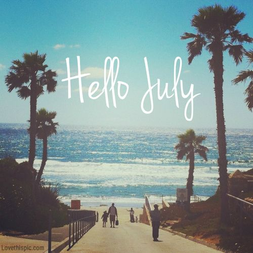 Hello July Sky Beach Ocean Palm Trees July Hello July