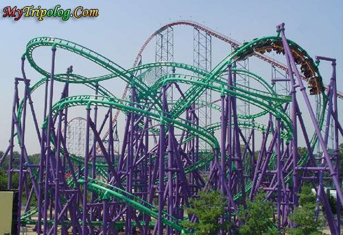 Joker S Jinx Roller Coaster Six Flags I Love This Ride Six Flags America Scary Roller Coasters Roller Coaster