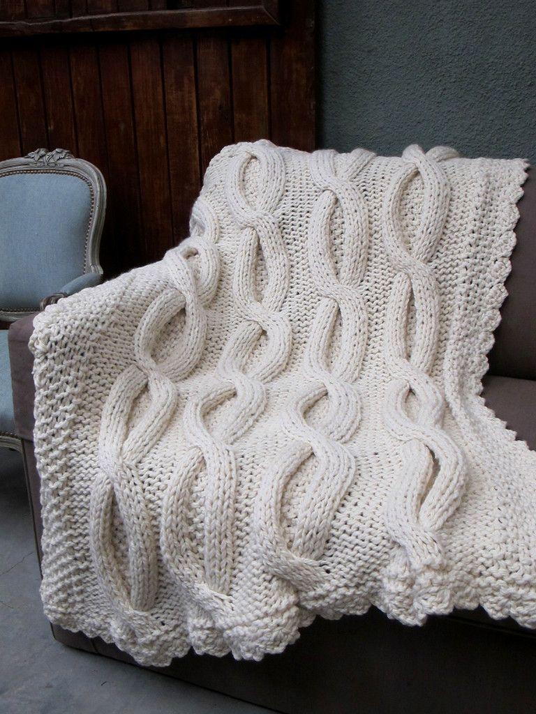Shabby Chic Throw - Cable Knit Throw   pie de cama   Mantas, Tejidos ...