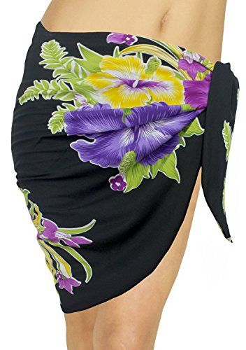 La Leela Hibsicus Flower Printed Likre Beach Swim Sarong Pareo Violet Valentines Day Gifts 2017 ** To view further for this item, visit the image link.