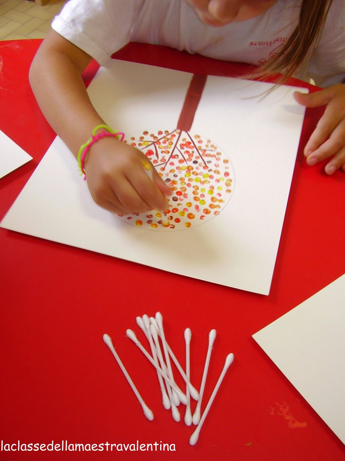 q tip art, fall trees - easy fall craft idea