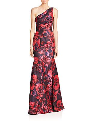One-Shoulder Floral Jacquard Gown, Pink/Navy | David meister, Gowns ...