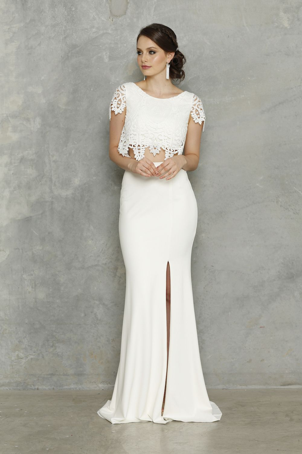 fc26825943c Show off your curves in the Zoe Wedding Dress. This fresh two-piece take