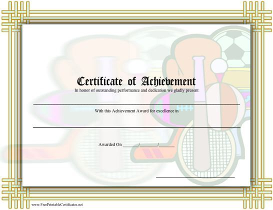 This general printable certificate of achievement in sports (or - copy business license certificate template