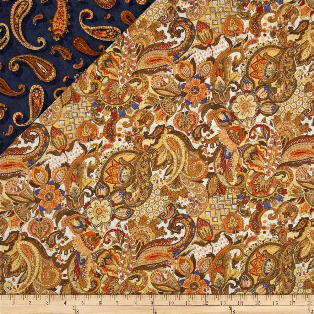 Royal Paisley Double Faced Quilted Fabri-Quilt Fabric by the Yard ... : double faced quilted fabric - Adamdwight.com