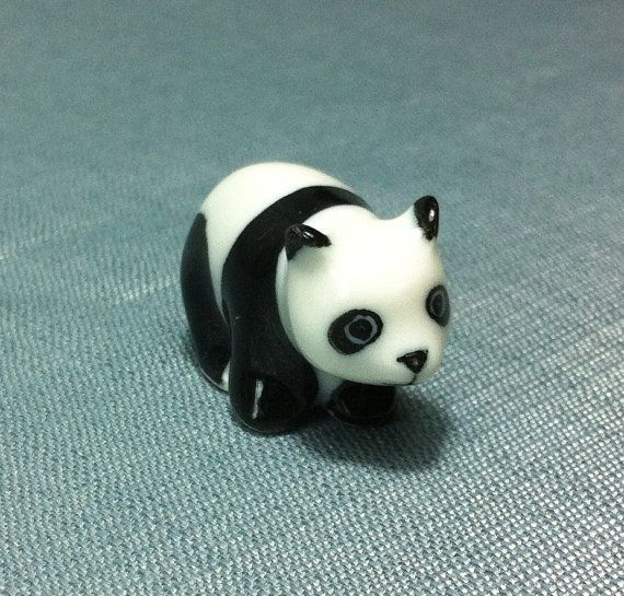 Miniature Ceramic Panda Bear Animal Cute By