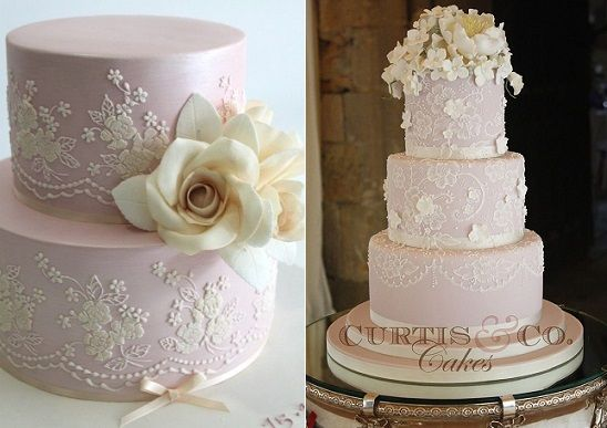 Lace Veil Wedding Cakes Via Weddingomania Left By Curtis Co Right