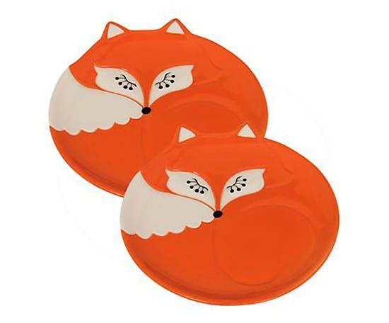 Jogo de pratinhos raposa - 15cm