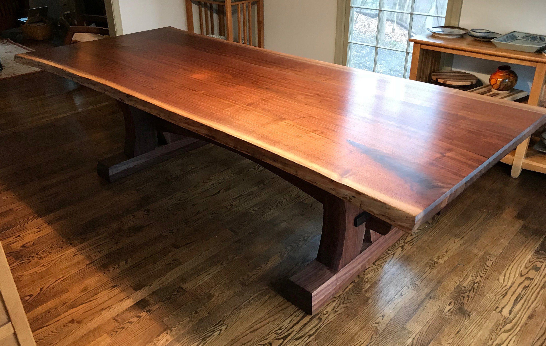 Walnut Live Edge Trestle Table And Bench Trestle Table Walnut