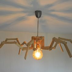 Lampe Design En Bois Suspension Original Modulable Led Amber Spider