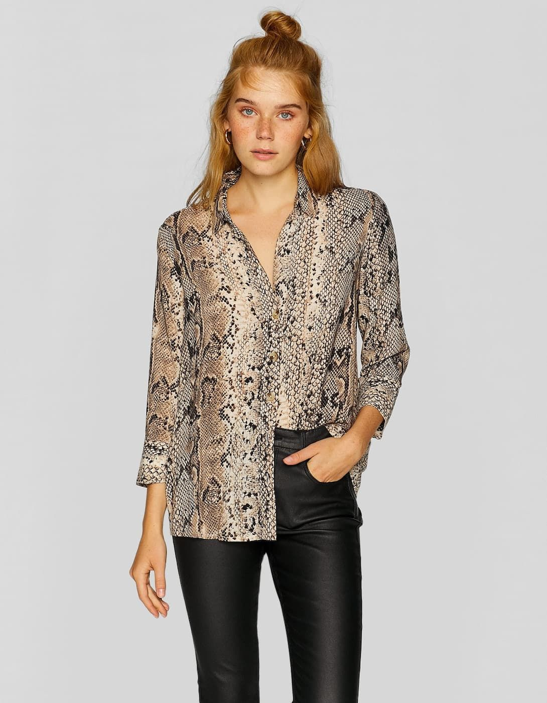 d9847d353fa12 Viscose snakeskin print shirt - Shirts   Blouses