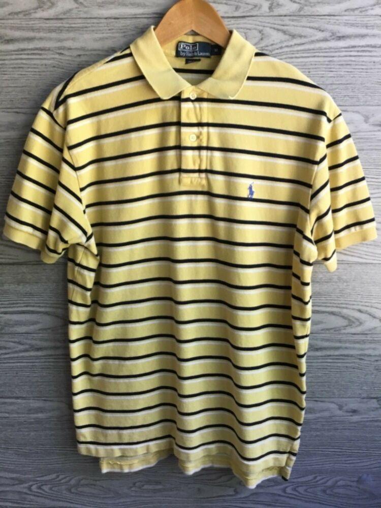 Ralph Lauren Yellow Black Stripes Short Sleeve Polo Shirt Mens