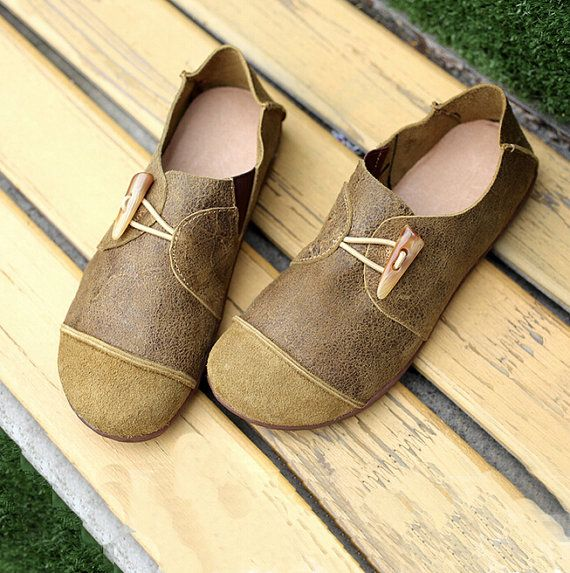 Large Size Handmade ShoesOxford Women Shoes Flat Shoes