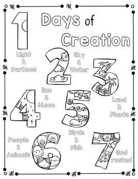 Days Of Creation Coloring Page And Handwriting Practice Creation Bible Crafts Bible For Kids Sunday School Activities