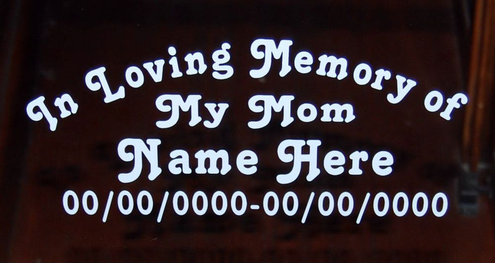 CUSTOM IN LOVING MEMORY OF MY MOM VINYL DECAL WINDOW STICKERS SET OF 2 NEW