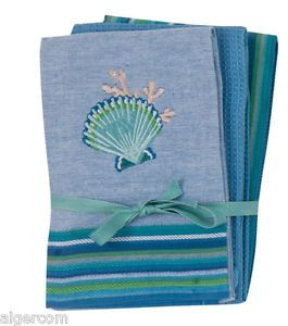 Kay Dee Coastal Collection 3-Pc Tea Towel Set 16x26 Embroidered Scallop Shell