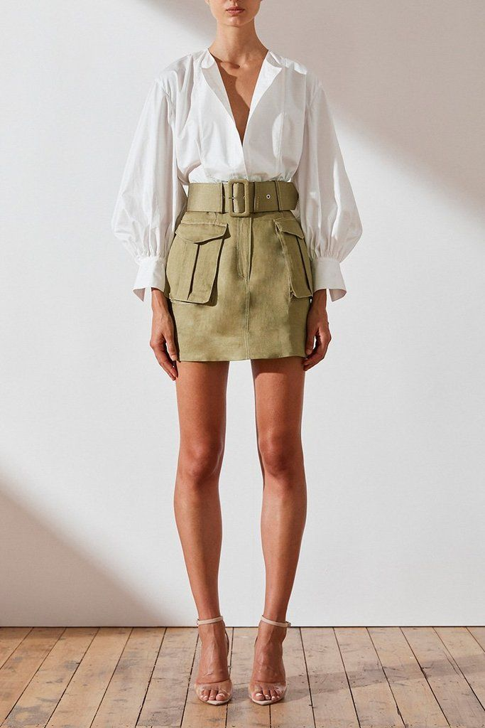 Ellington linen mini skirt – olive