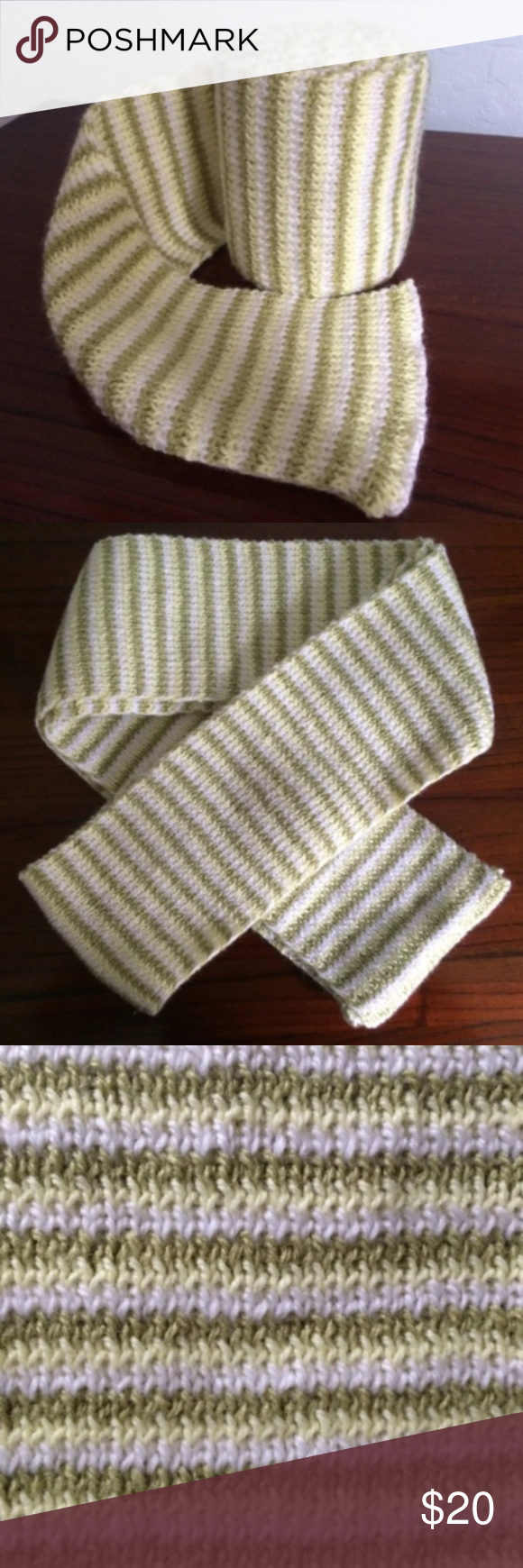Photo of Handmade Meadow Stripe Knit Scarf Material: 100% acrylic yarn Color: white, lemo…
