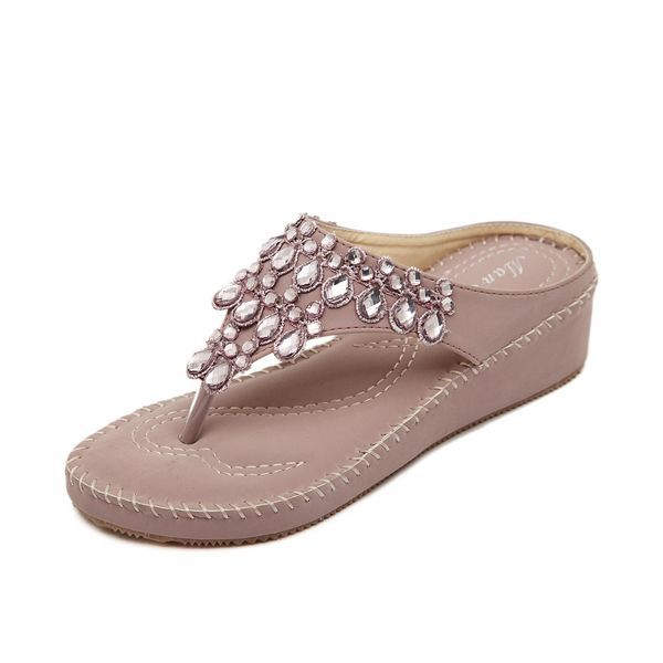 3544bfbccf52 Women Summer Bohemian Diamond Flip Flop Casual Beach Outdoor Fashion  Comfortable Wedge Sandals Worldwide delivery.