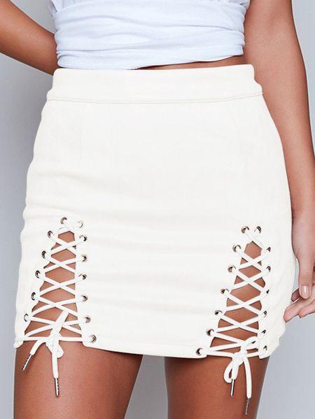 Yoins White Lace-up Design Bodycon Skirt
