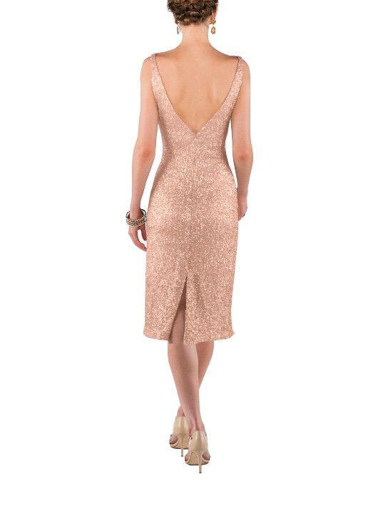DescriptionSorella Vita Modern Metallic Style 8634Midi-length bridesmaid dressV-necklineFitted bodiceLow backMatte sequins