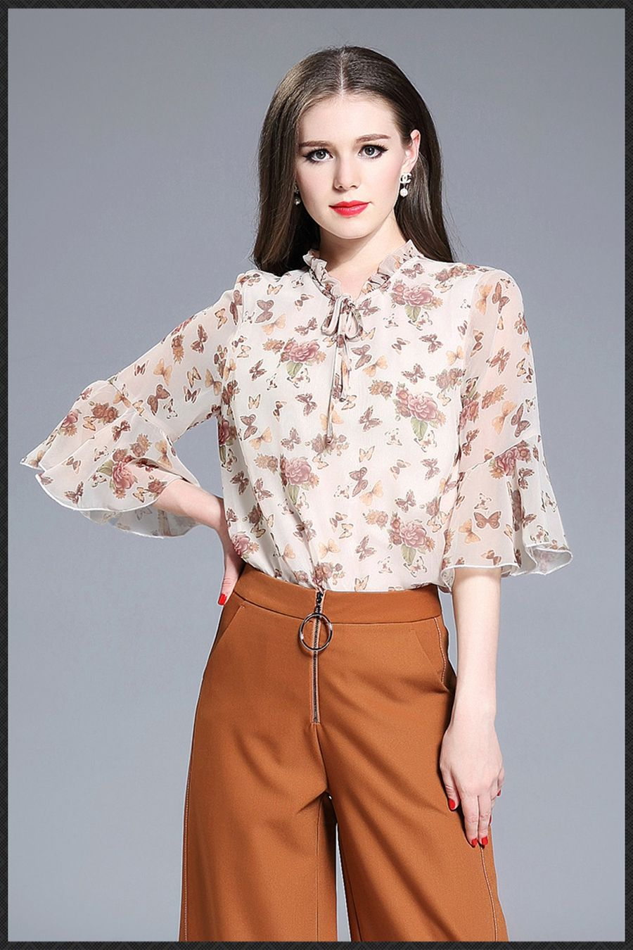 1176371b995c Latest Formal Skirt Blouse Patterns For Ladiesbig Sleeve Blousesilk Chiffon  Blouse