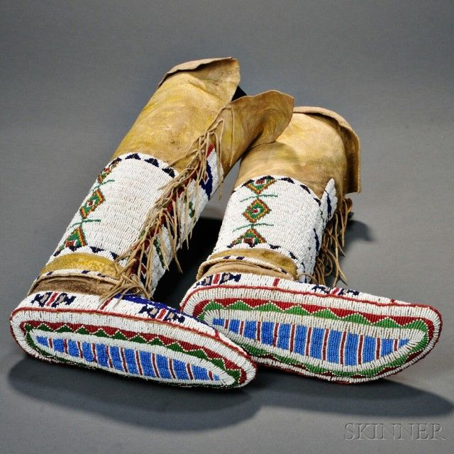 Lakota Woman S Fully Beaded Moccasins With Attached Leggings