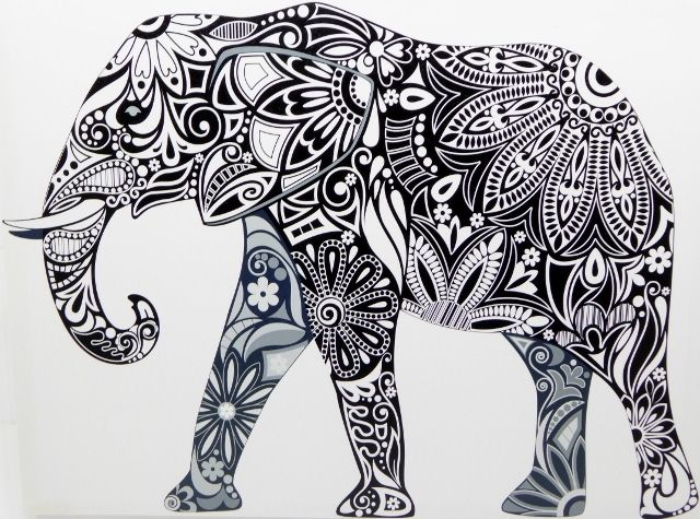 black and white elephant tribal picture art canvas ready to hang