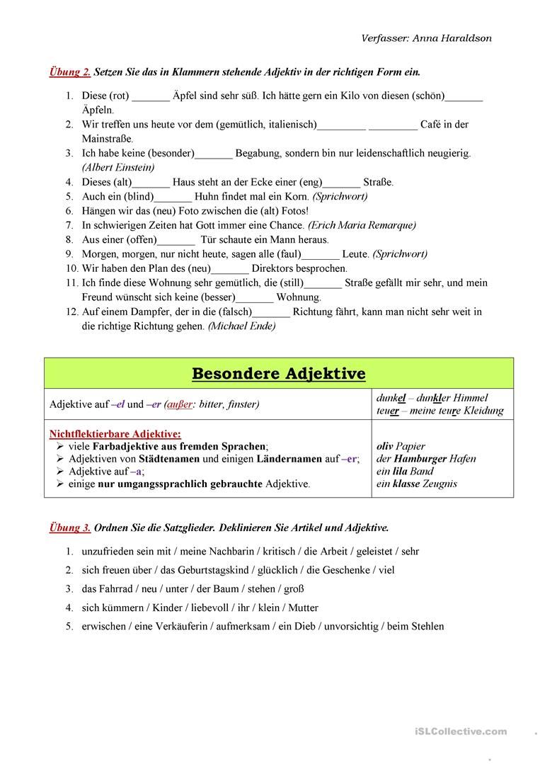 Deklination der Adjektive | Deutsch | Pinterest | German language ...