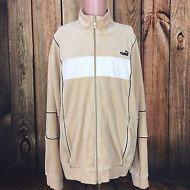 6de95fc0e82081 PUMA Men s XL Cream White Black Trim Velour Retro Track Jacket Hip BBoy  Street
