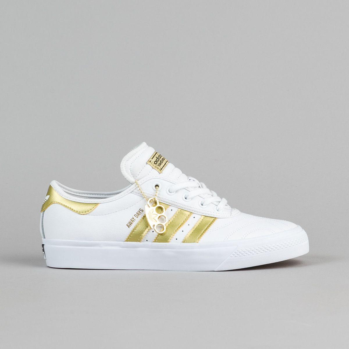 Adidas Adi Ease estreno lejos días zapatos blanco / oro / Gum
