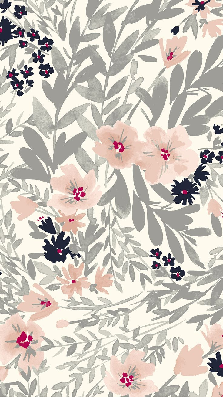 Pink And Grey Watercolor Floral Print Floral Wallpaper