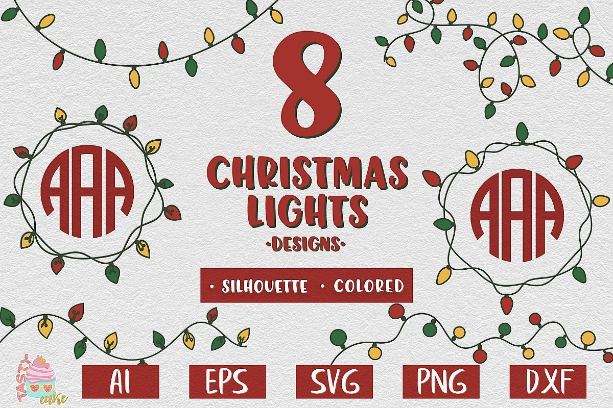 Christmas Lights Monogram Frame 1 SVG By Crunchy Pickle