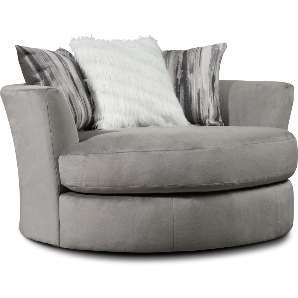Cordelle Swivel Chair With Faux Fur Pillows Value City Furniture And Mattresses In 2020 Swivel Chair Big Comfy Chair Living Room Seating