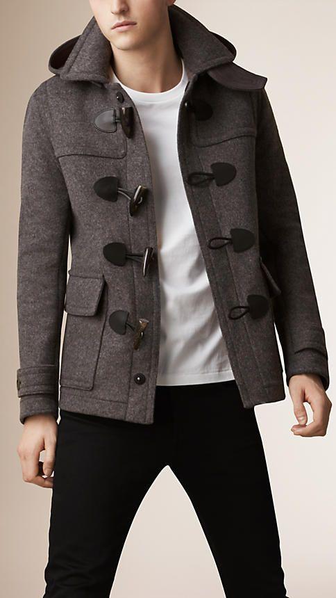 cd33e7e32765 Mid grey melange Wool Detachable Hood Duffle Jacket - Image 1 ...