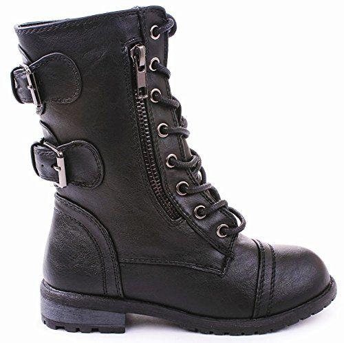 Mango-61 Women Combat Lace Up Zip Grommet Buckle Mid Calf Motorcycle Boots