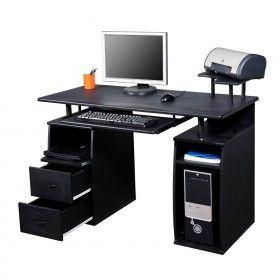 Mesa de Ordenador Mesa Escritorio de Oficina Tabla de PC Black MDF ...