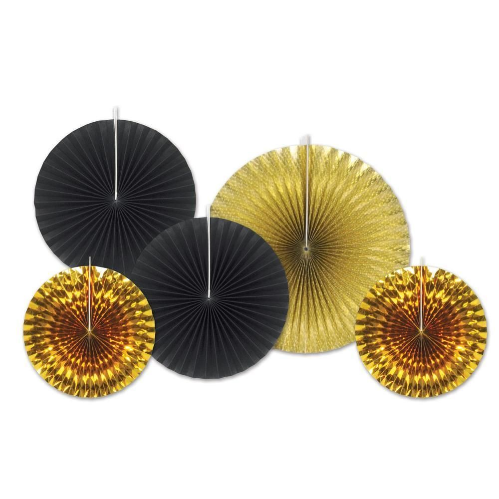 Beistle Assorted Paper & Foil Decorative Fans Black and Gold (12ct ...