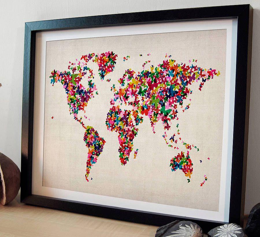 Butterflies map of the world art print playrooms bedrooms and house butterflies map of the world art print gumiabroncs Gallery