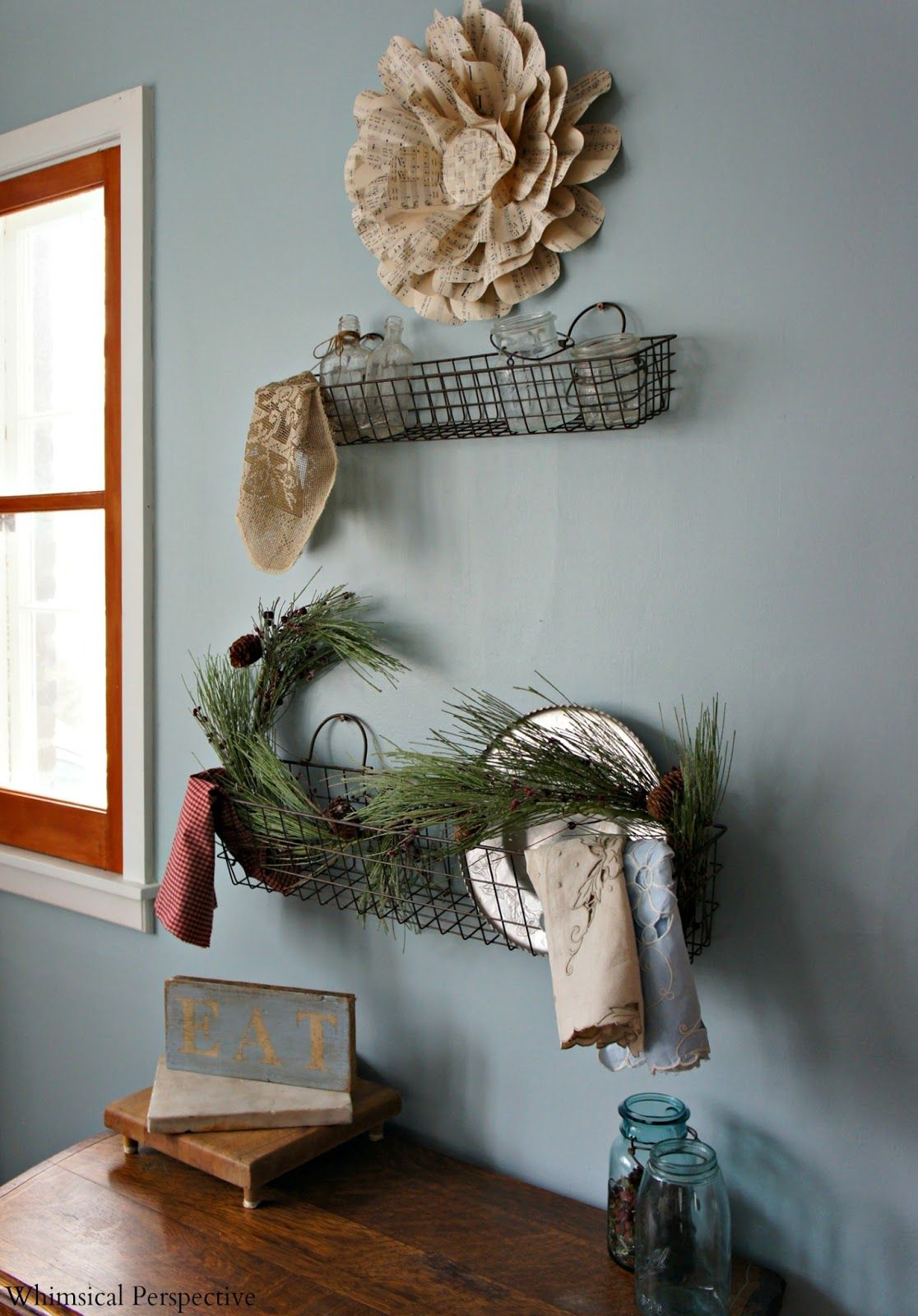 Whimsical Shelves Adoring The Rustic Wire Basket Shelves Whimsical