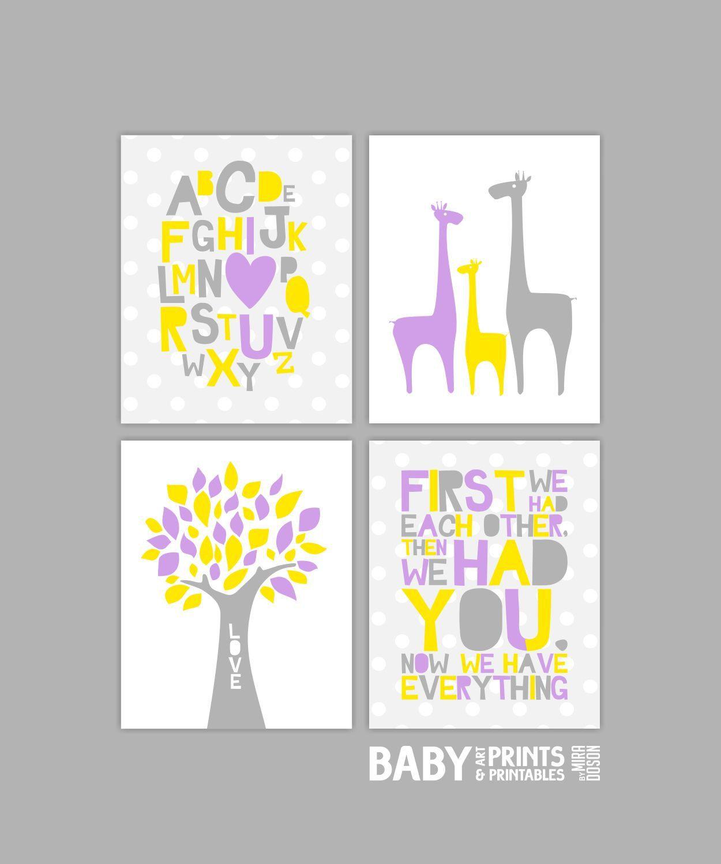 Nursery art Set of 4 8x10. First we had each by babyartprints, $16.00
