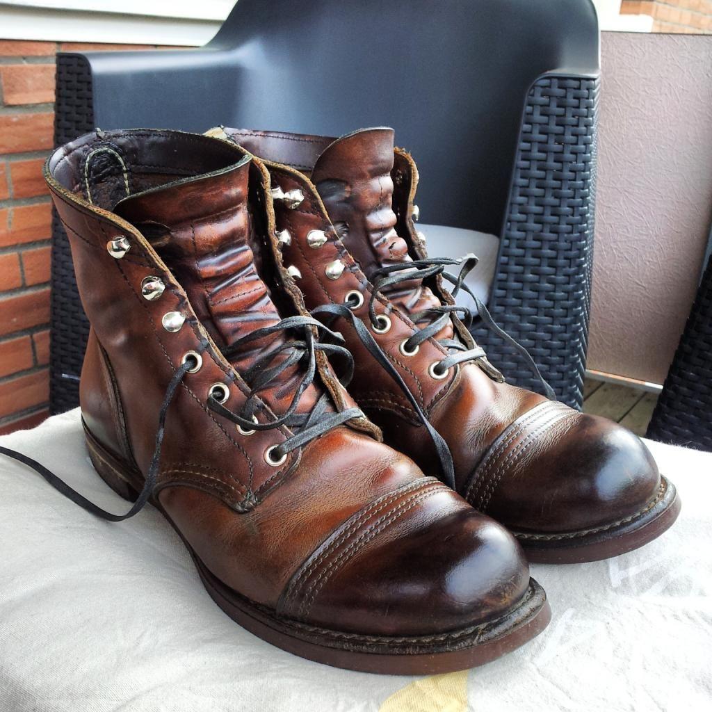 Oxblood Shoe Polish On Black Boots